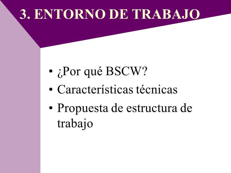 3. ENTORNO DE TRABAJO ¿Por qué BSCW Características técnicas
