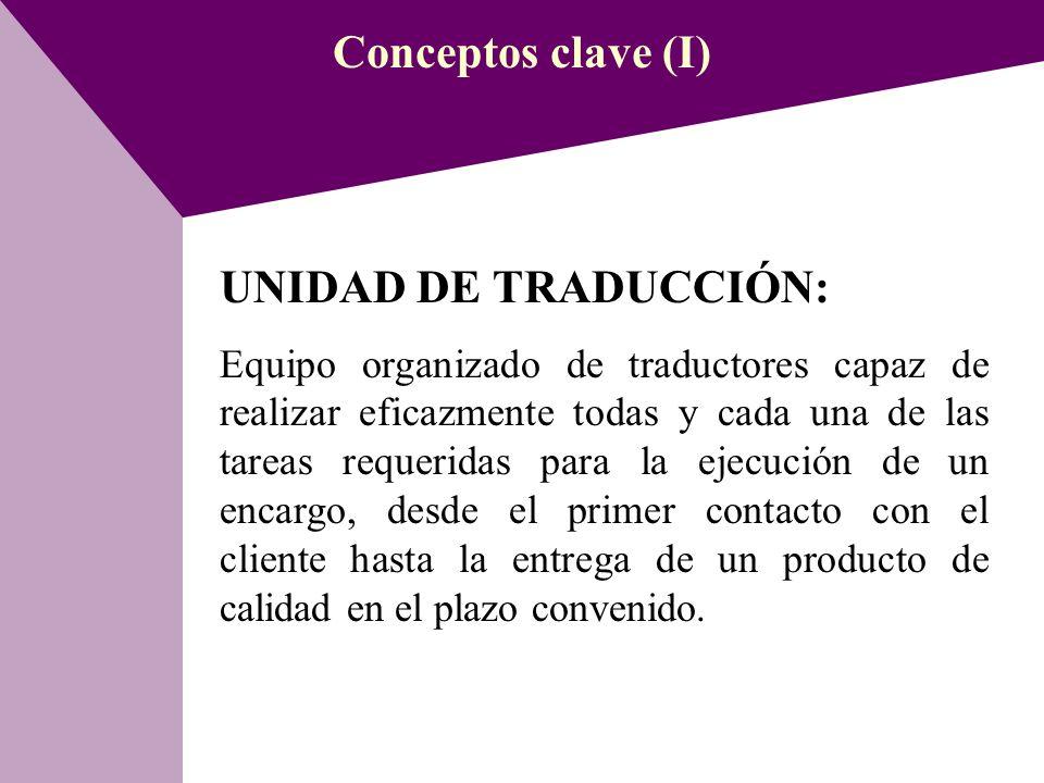 Conceptos clave (I) UNIDAD DE TRADUCCIÓN: