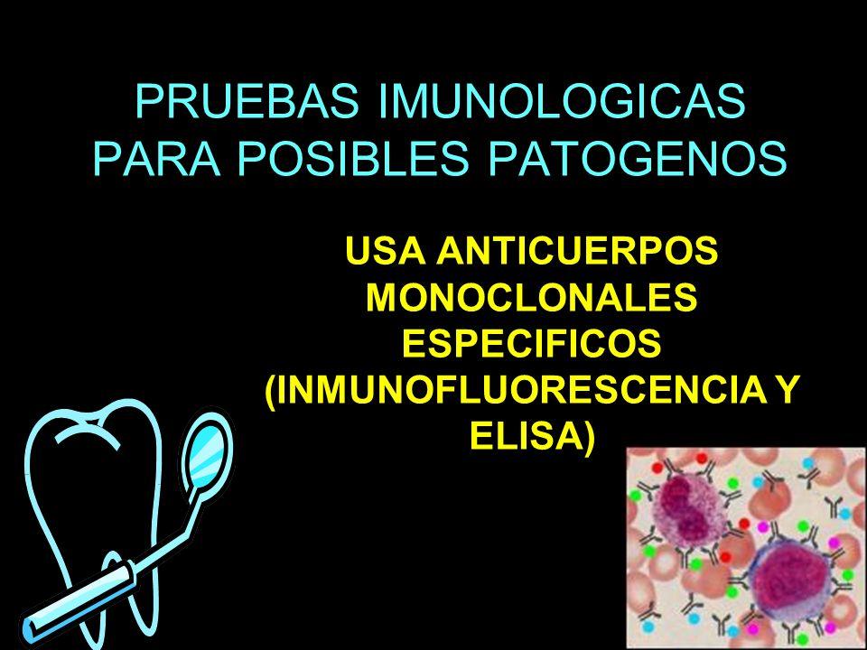 PRUEBAS IMUNOLOGICAS PARA POSIBLES PATOGENOS