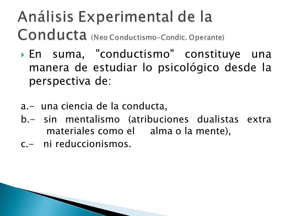 Análisis Experimental de la Conducta (Neo Conductismo-Condic. Operante)