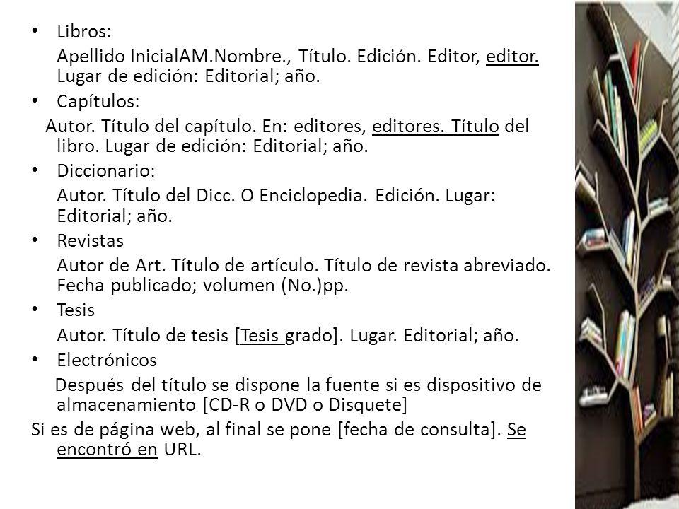 Libros: Apellido InicialAM.Nombre., Título. Edición. Editor, editor. Lugar de edición: Editorial; año.