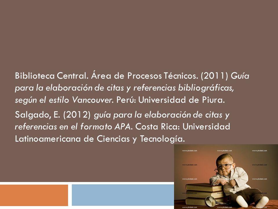 Biblioteca Central. Área de Procesos Técnicos