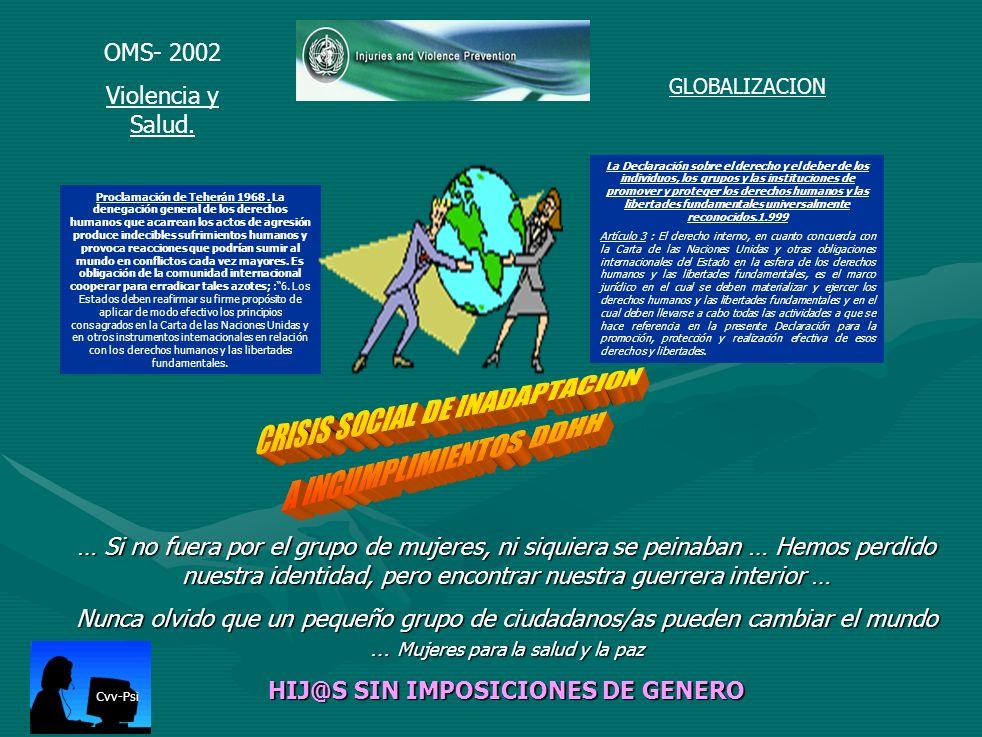 CRISIS SOCIAL DE INADAPTACION A INCUMPLIMIENTOS DDHH