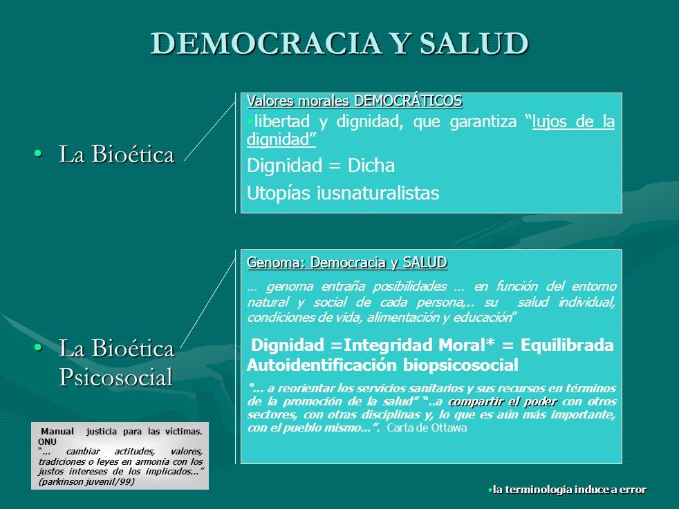 DEMOCRACIA Y SALUD La Bioética Psicosocial Dignidad = Dicha