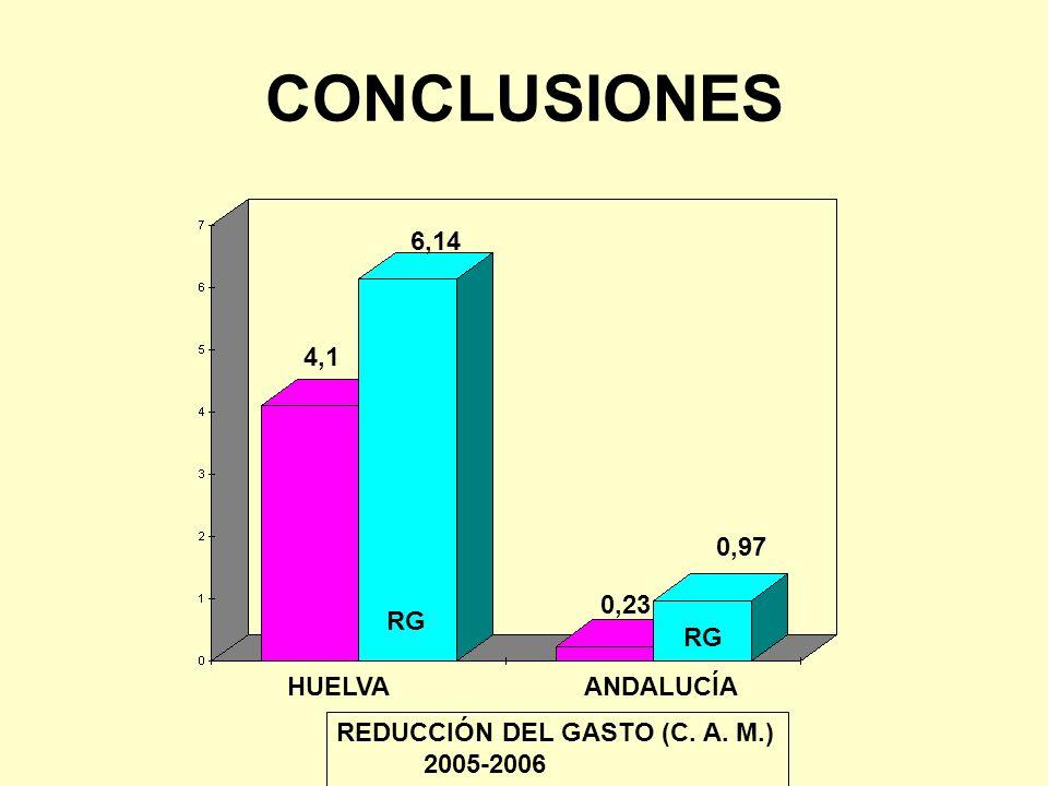 CONCLUSIONES 6,14 4,1 0,97 0,23 RG RG HUELVA ANDALUCÍA