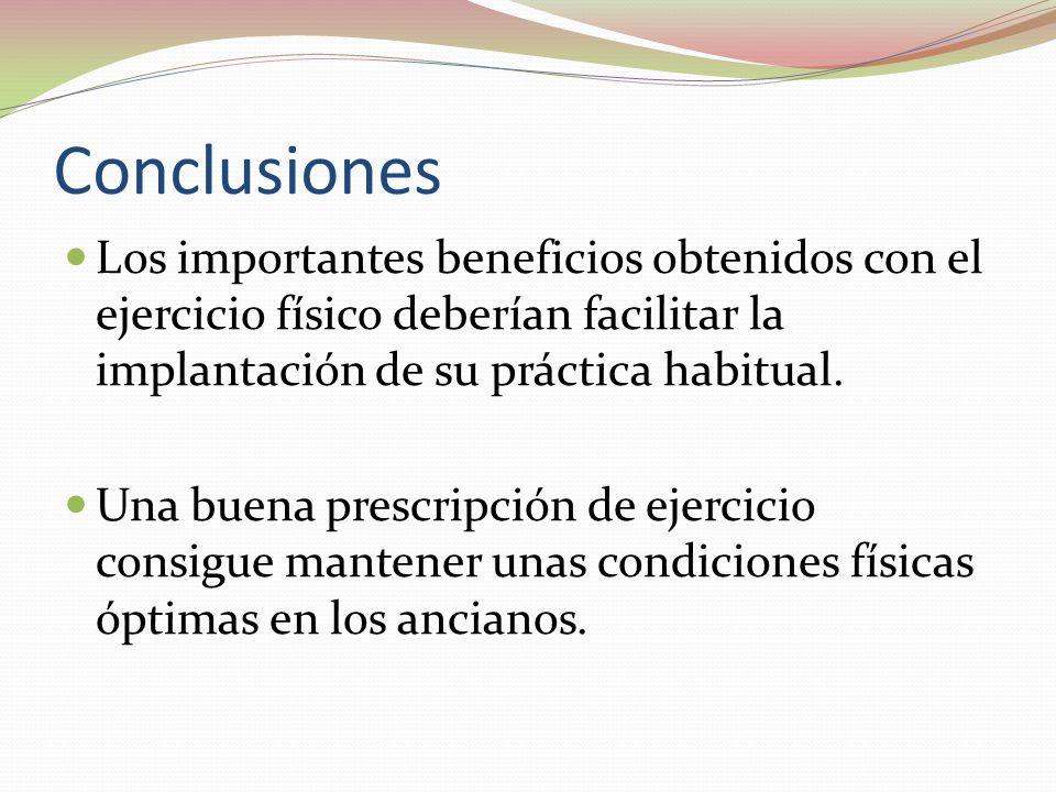 Conclusiones Los importantes beneficios obtenidos con el ejercicio físico deberían facilitar la implantación de su práctica habitual.