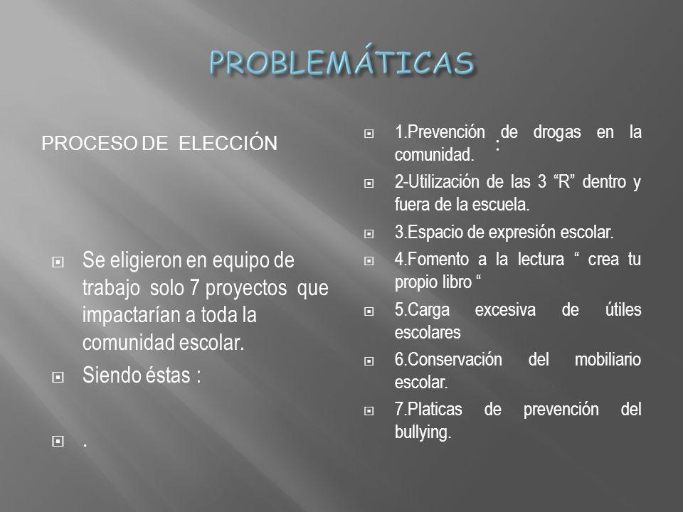PROBLEMÁTICAS Proceso de elección. 1.Prevención de drogas en la comunidad. 2-Utilización de las 3 R dentro y fuera de la escuela.