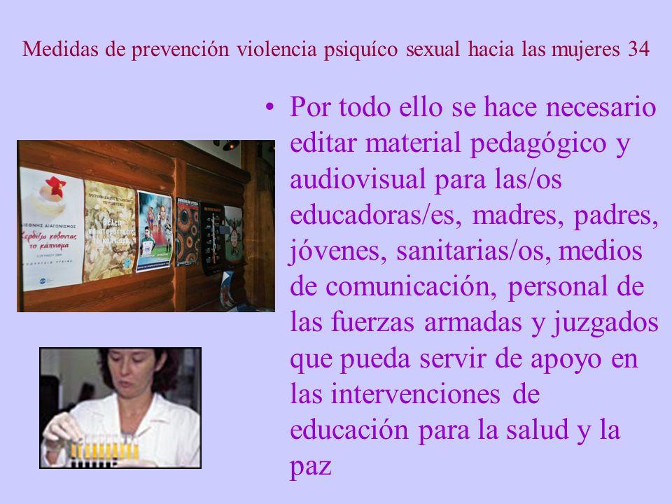 Medidas de prevención violencia psiquíco sexual hacia las mujeres 34