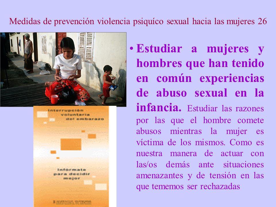 Medidas de prevención violencia psiquíco sexual hacia las mujeres 26