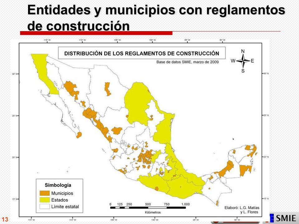 Entidades y municipios con reglamentos de construcción