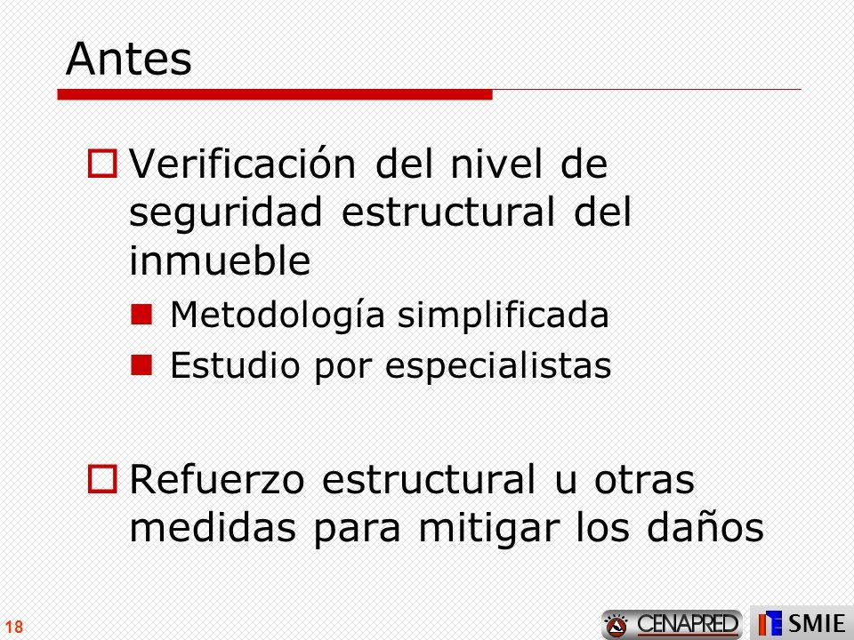 Antes Verificación del nivel de seguridad estructural del inmueble
