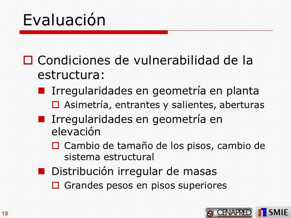 Evaluación Condiciones de vulnerabilidad de la estructura:
