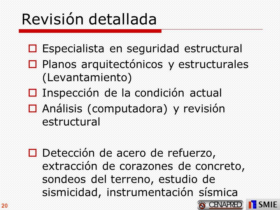 Revisión detallada Especialista en seguridad estructural