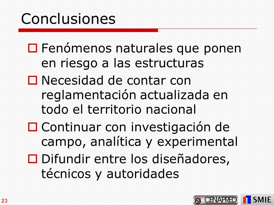 Conclusiones Fenómenos naturales que ponen en riesgo a las estructuras