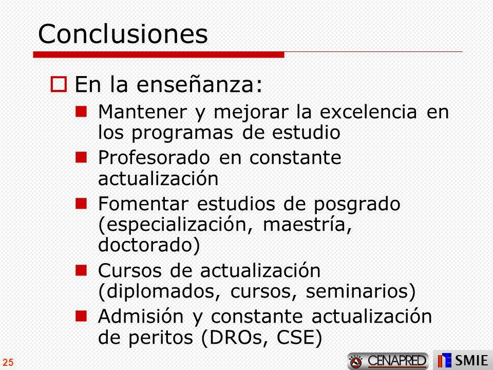 Conclusiones En la enseñanza: