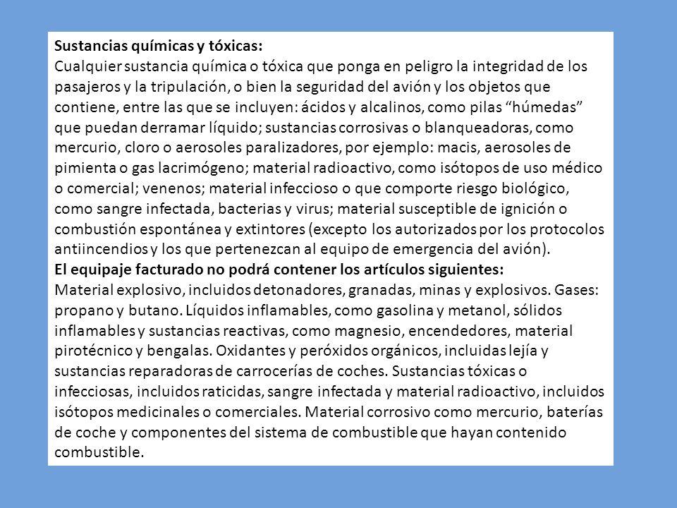 Sustancias químicas y tóxicas: