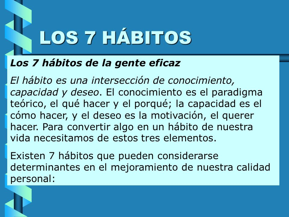 LOS 7 HÁBITOS Los 7 hábitos de la gente eficaz