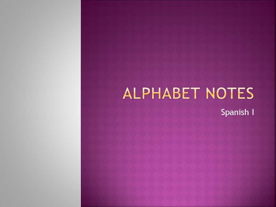 Alphabet notes Spanish I
