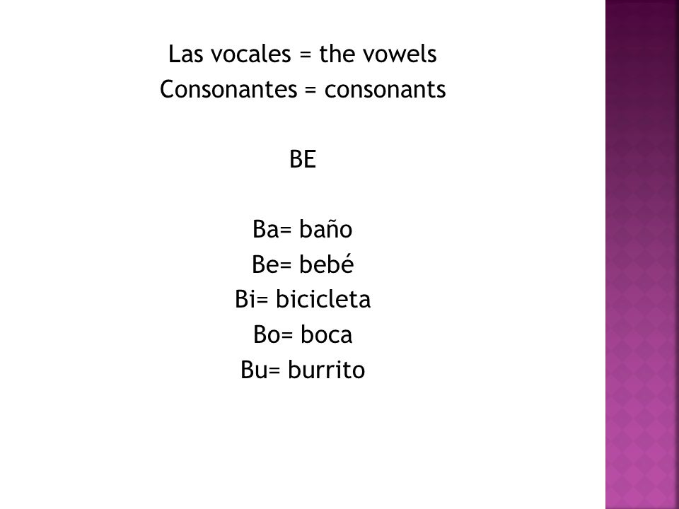 Las vocales = the vowels Consonantes = consonants BE Ba= baño Be= bebé Bi= bicicleta Bo= boca Bu= burrito