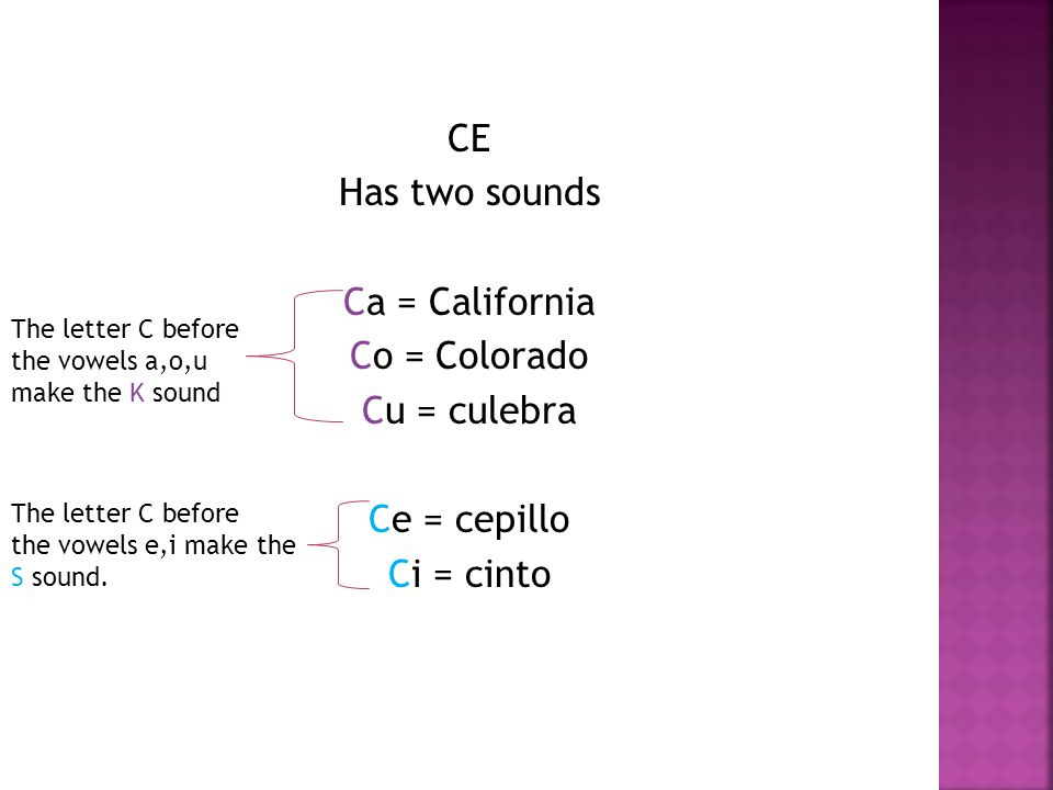 CE Has two sounds Ca = California Co = Colorado Cu = culebra Ce = cepillo Ci = cinto