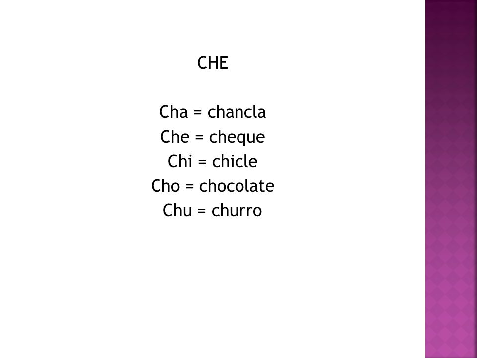 CHE Cha = chancla Che = cheque Chi = chicle Cho = chocolate Chu = churro