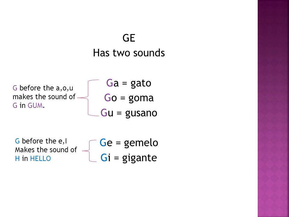 GE Has two sounds Ga = gato Go = goma Gu = gusano Ge = gemelo Gi = gigante