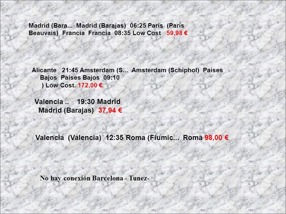 Valencia (Valencia) 12:35 Roma (Fiumic... Roma 98,00 €