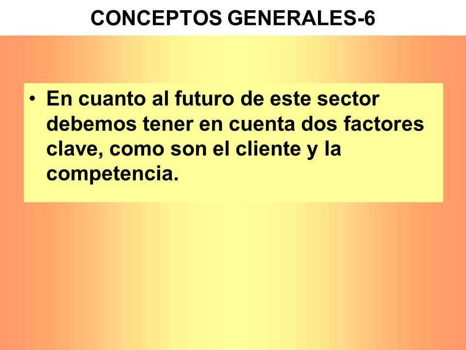 CONCEPTOS GENERALES-6 En cuanto al futuro de este sector debemos tener en cuenta dos factores clave, como son el cliente y la competencia.