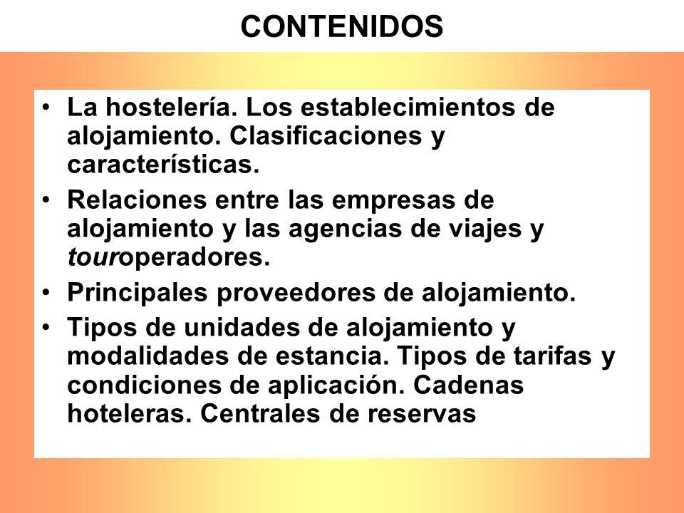CONTENIDOS La hostelería. Los establecimientos de alojamiento. Clasificaciones y características.