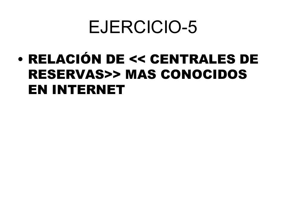 EJERCICIO-5 RELACIÓN DE << CENTRALES DE RESERVAS>> MAS CONOCIDOS EN INTERNET