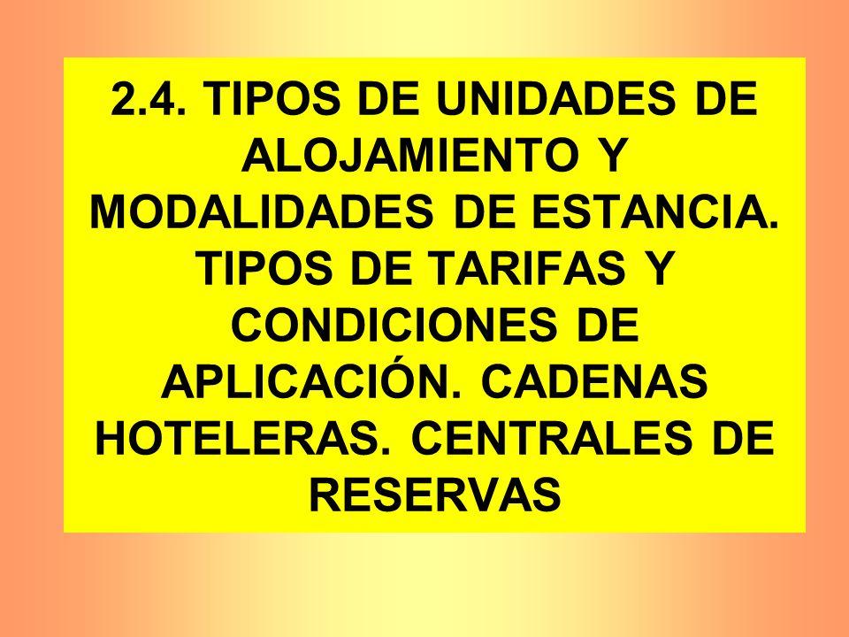 2. 4. TIPOS DE UNIDADES DE ALOJAMIENTO Y MODALIDADES DE ESTANCIA