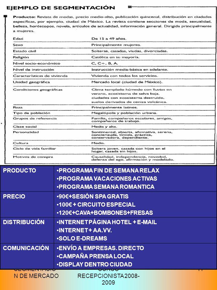 PRODUCTO PROGRAMA FIN DE SEMANA RELAX. PROGRAMA VACACIONES ACTIVAS. PROGRAMA SEMANA ROMANTICA. PRECIO.