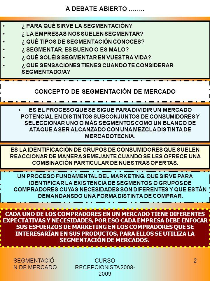 CONCEPTO DE SEGMENTACIÓN DE MERCADO