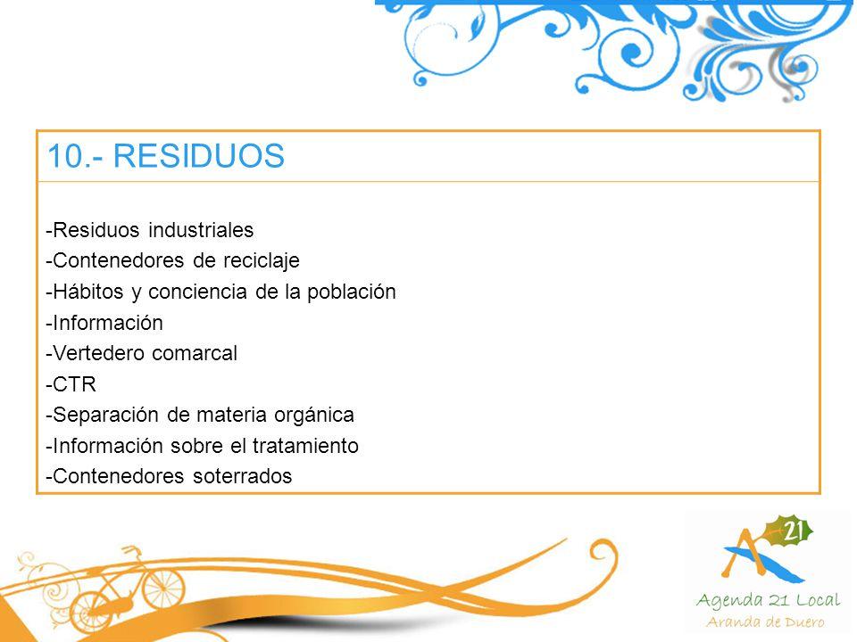 10.- RESIDUOS Residuos industriales Contenedores de reciclaje