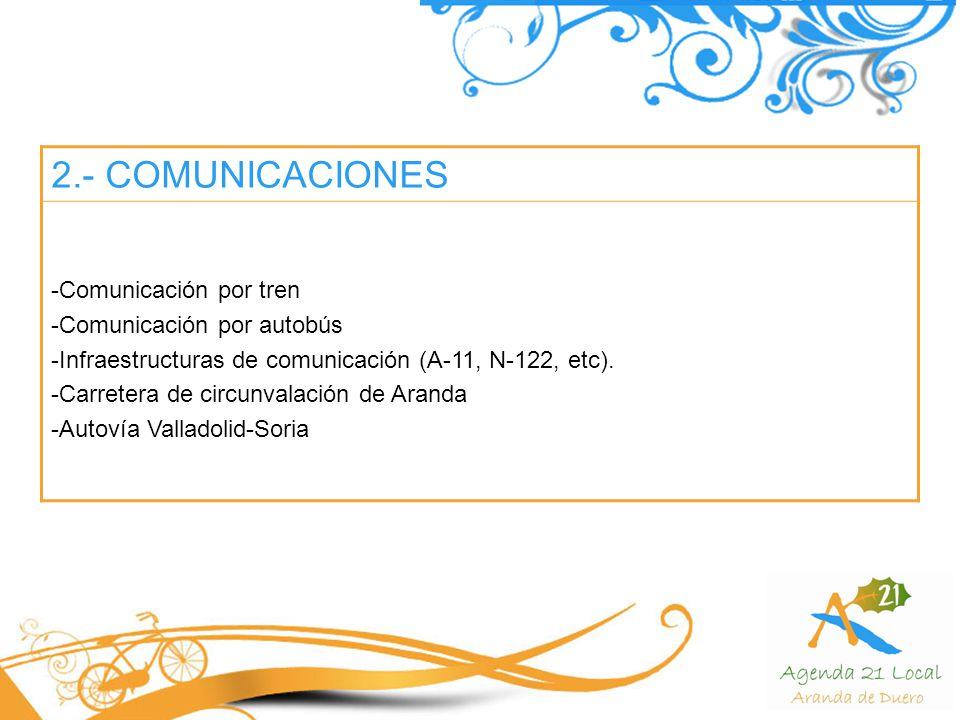 2.- COMUNICACIONES Comunicación por tren Comunicación por autobús