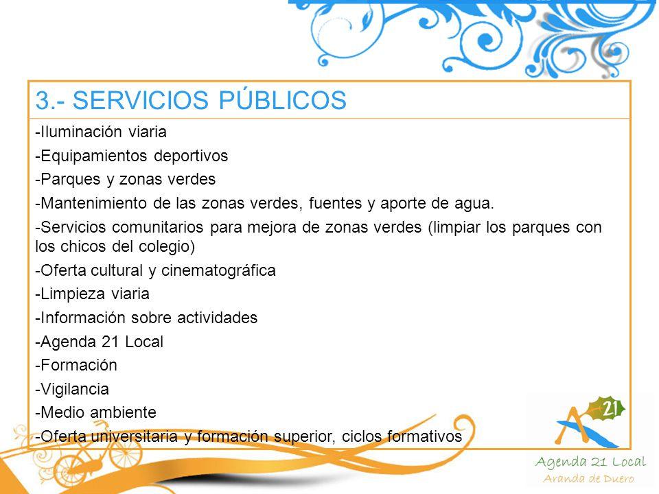 3.- SERVICIOS PÚBLICOS Iluminación viaria Equipamientos deportivos