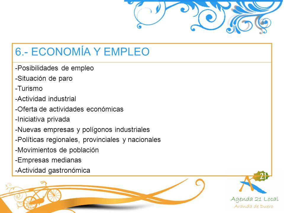 6.- ECONOMÍA Y EMPLEO Posibilidades de empleo Situación de paro