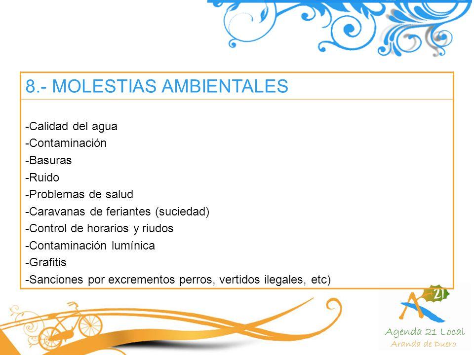 8.- MOLESTIAS AMBIENTALES