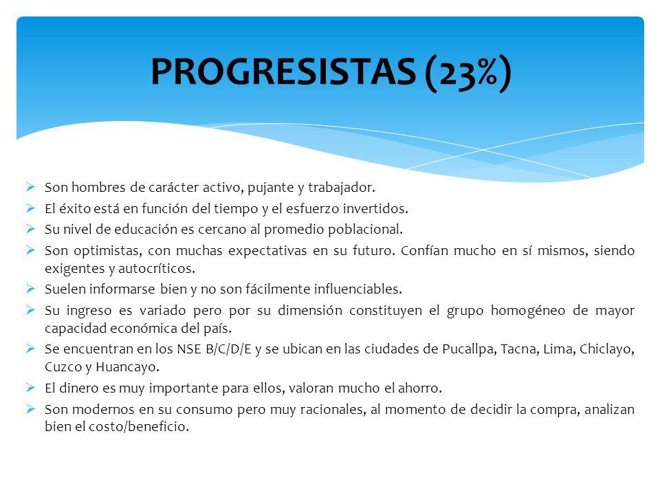 PROGRESISTAS (23%) Son hombres de carácter activo, pujante y trabajador. El éxito está en función del tiempo y el esfuerzo invertidos.