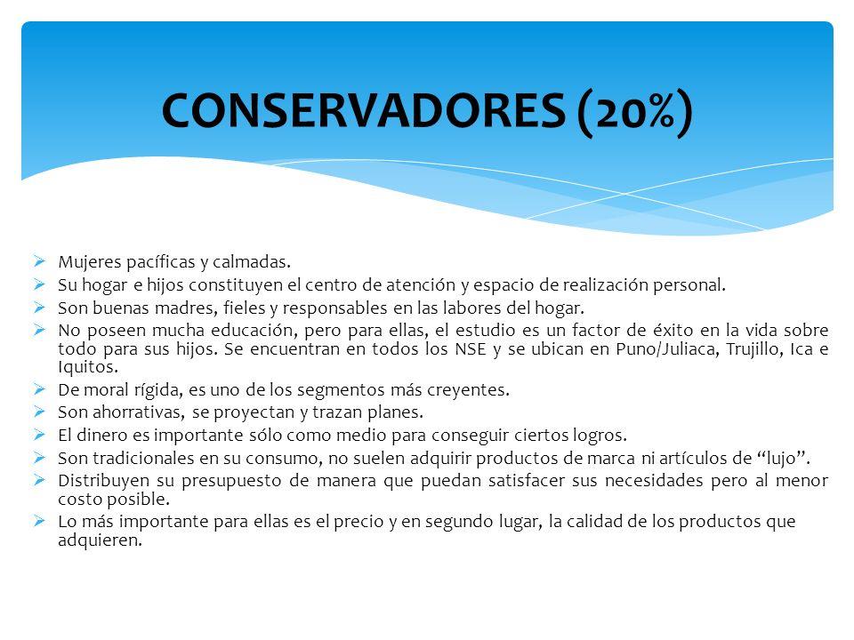 CONSERVADORES (20%) Mujeres pacíficas y calmadas.