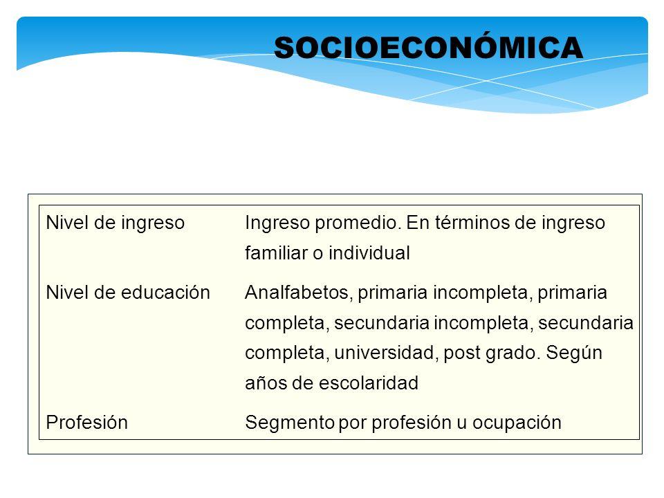 SOCIOECONÓMICA Nivel de ingreso Ingreso promedio. En términos de ingreso. familiar o individual.