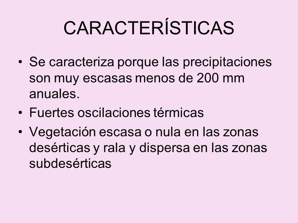 CARACTERÍSTICAS Se caracteriza porque las precipitaciones son muy escasas menos de 200 mm anuales. Fuertes oscilaciones térmicas.