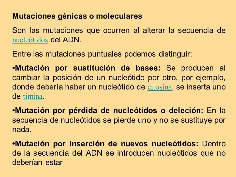 Mutaciones génicas o moleculares