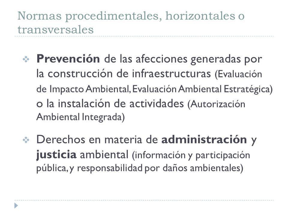 Normas procedimentales, horizontales o transversales