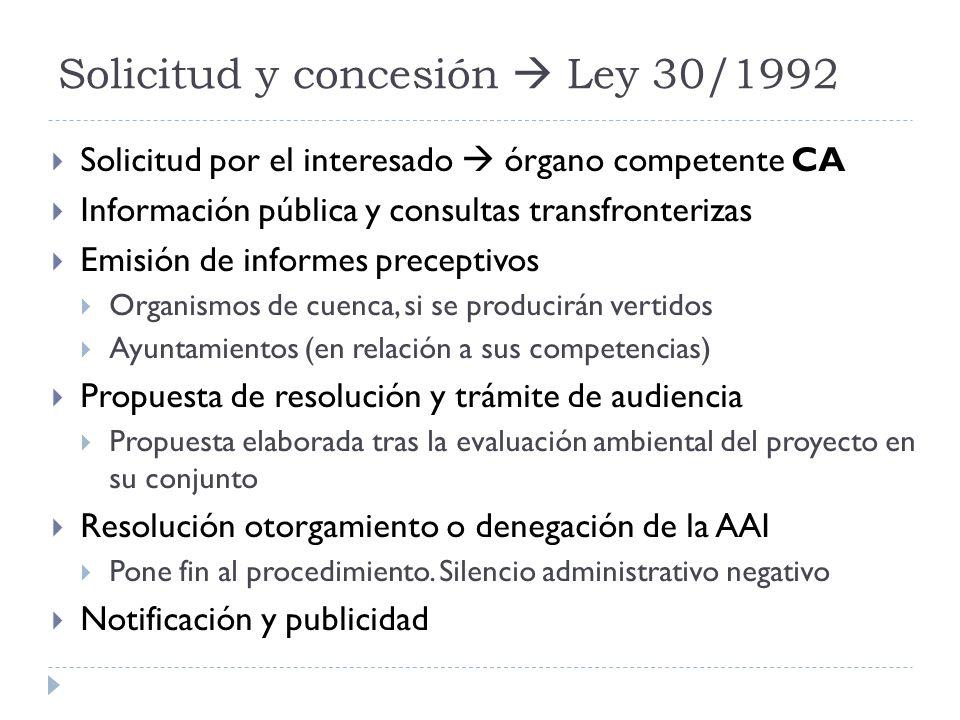 Solicitud y concesión  Ley 30/1992
