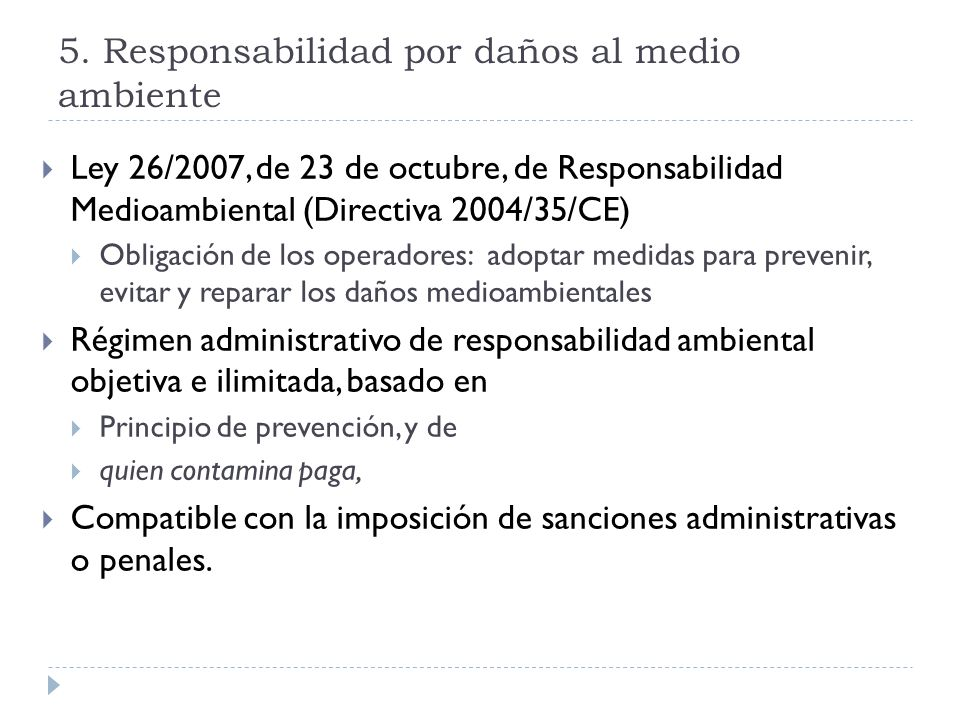 5. Responsabilidad por daños al medio ambiente