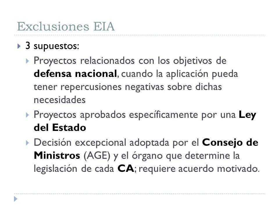 Exclusiones EIA 3 supuestos: