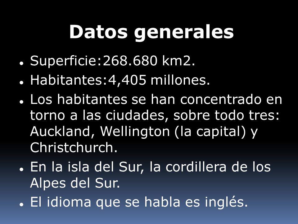 Datos generales Superficie:268.680 km2. Habitantes:4,405 millones.