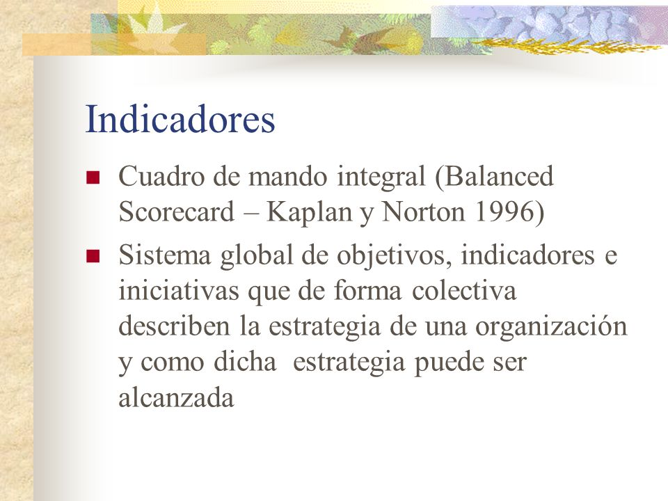 Indicadores Cuadro de mando integral (Balanced Scorecard – Kaplan y Norton 1996)