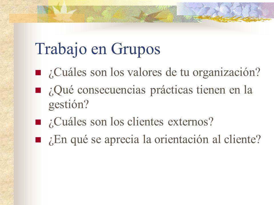 Trabajo en Grupos ¿Cuáles son los valores de tu organización